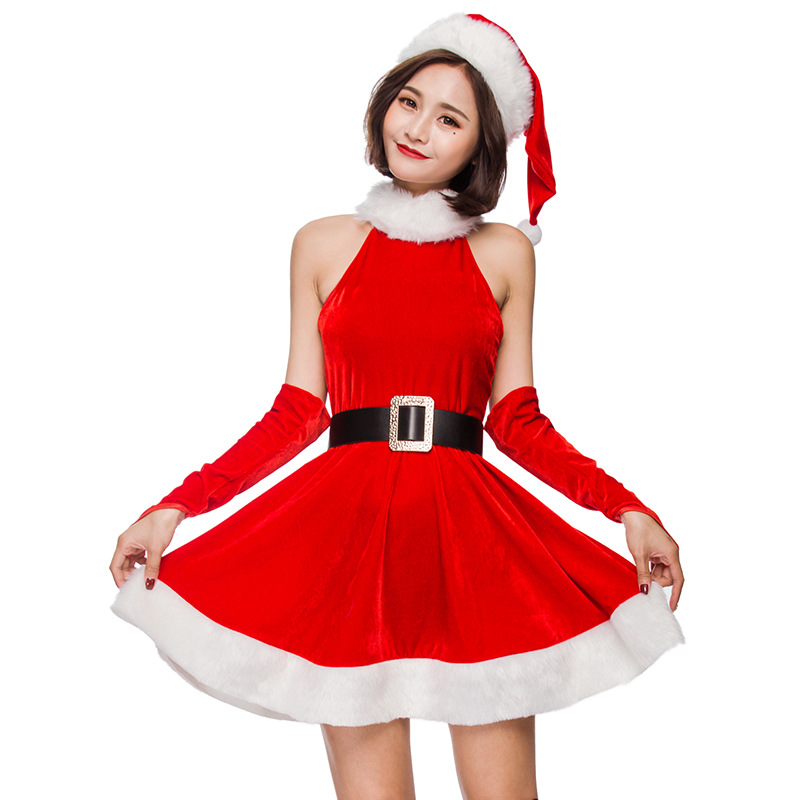 Red Sleeveless Santa Claus Cosplay Mini Dress Halt Patchwork Christmas Costume Women Dress Christmas Party Dresses Vestido