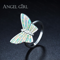 Angel Girl Natural Australia White Opal Rings For Women Butterfly Jewelry Cocktail Party White Gold Color