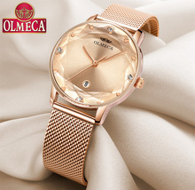 OLMECA Women's Watch Diamond-shaped convex glass mesh with waterproof quartz watch fashion luxury