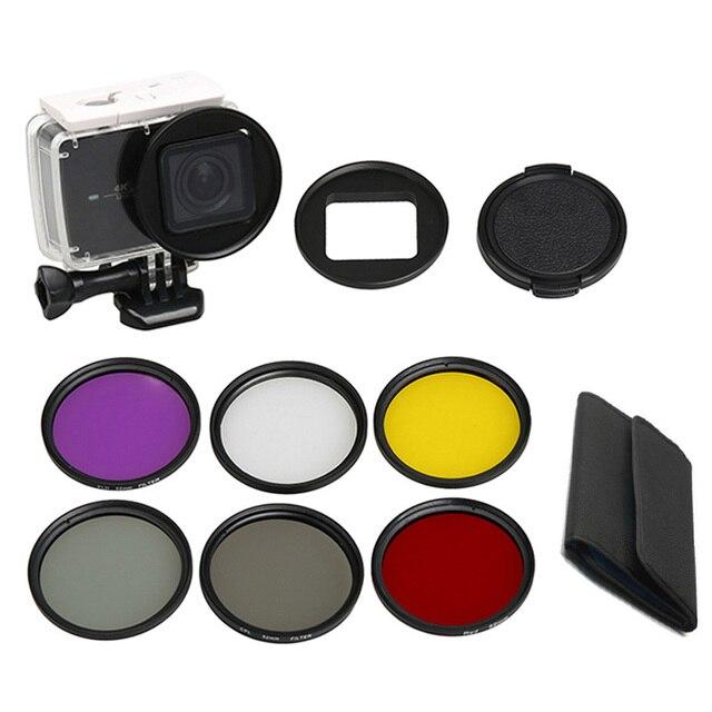 Filtro de buceo amarillo rojo púrpura UV CPL ND4 bajo el agua 52mm anillo adaptador de buceo Filtors para Xiaomi YI 4 K II caso impermeable