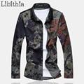Men Casual Flowers Print Dress Shirts Loose Type Shirt Long Sleeve Floral Cotton Blouse Male Plus Size 6XL 7XL Autumn Winter K71
