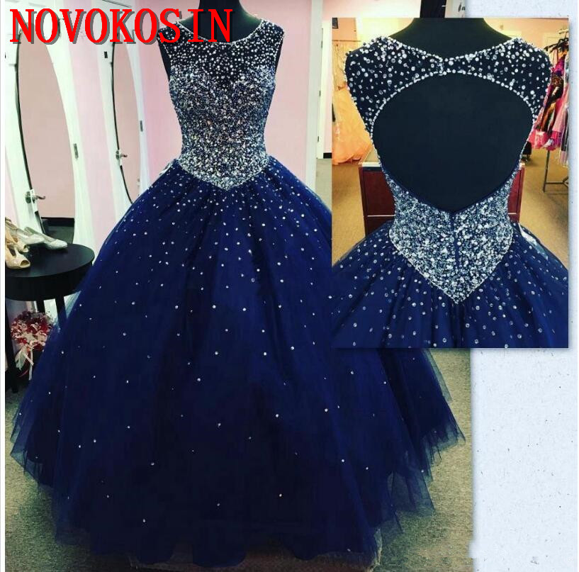 2019 Sparkly Beads Crystal Navy Blue Quinceanera Dresses Ball Gown Tulle Masquerade Sweet 16 Prom Gowns Backless Vestido Festa