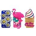 Для iphone 5/5s 6/6 s 6 плюс Фламинго Coque для iPhone 3D Little Daisy Улыбается Подсолнечное Танцы Птица мороженое Принципиально Кремния случаях