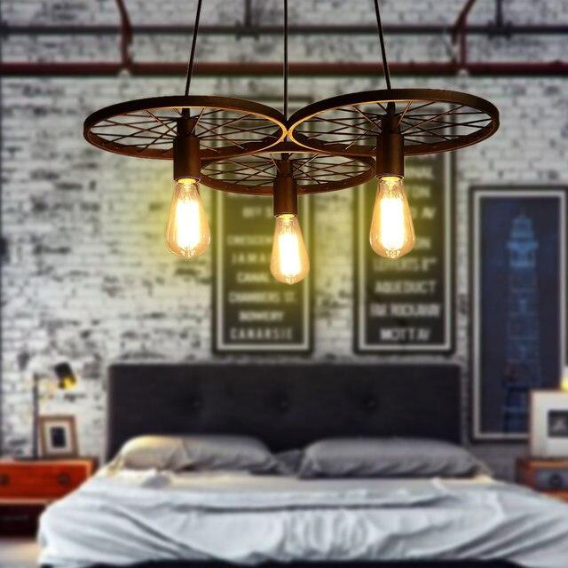 3 Wheels Creative Hanglamp Industrieel Pendant Lights Retro Nostalgia Rust Incandescent Energy Saving