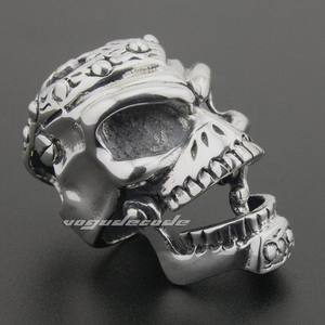 Image 5 - Solid 925 Sterling Silver Skull Mens Biker Pendant 8C011 With Matching Stainless Steel Necklace