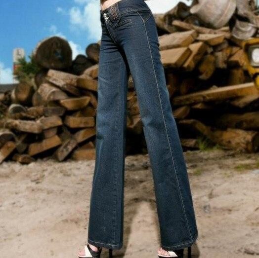 ФОТО Korean Fashion Designer Bell Bottom Jeans Women Work Wear Wide Leg Loose Straight Jeans Dark Blue