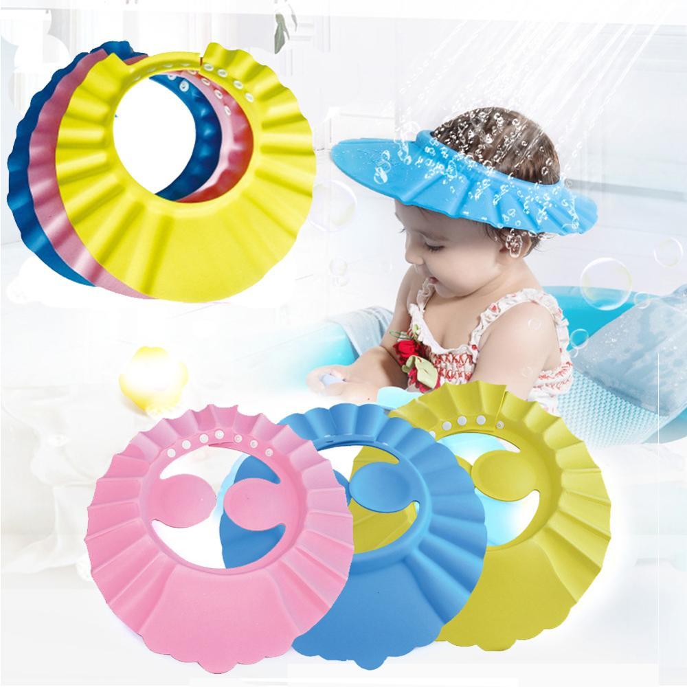 2019 Baby Children Adjustable Shampoo Cap Ear Guard Bath Cap Kid Toddlers Hair Wash Cap Waterproof Ear Protection Shower Caps