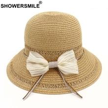 купить SHOWERSMILE Women's Sun Hat Bowknot Ladies Straw Fedora Designer Brand 2019 Spring Summer Female Beach Bowler Sun Hat For Women по цене 646.75 рублей