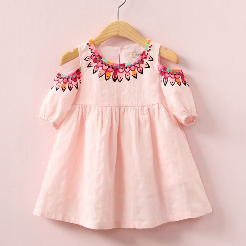 2018 kids dress for girl fashion spring Print strapless dress cotton clothing princess casual dress цена