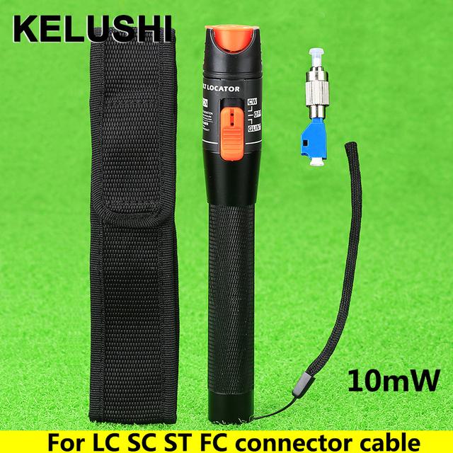 KELUSHI 10 mW Visual Fault Locator Fibra Tester Detector de Alumínio Adaptador FC Macho para Fêmea LC Para LC/SC/ST/FC Conector do Cabo