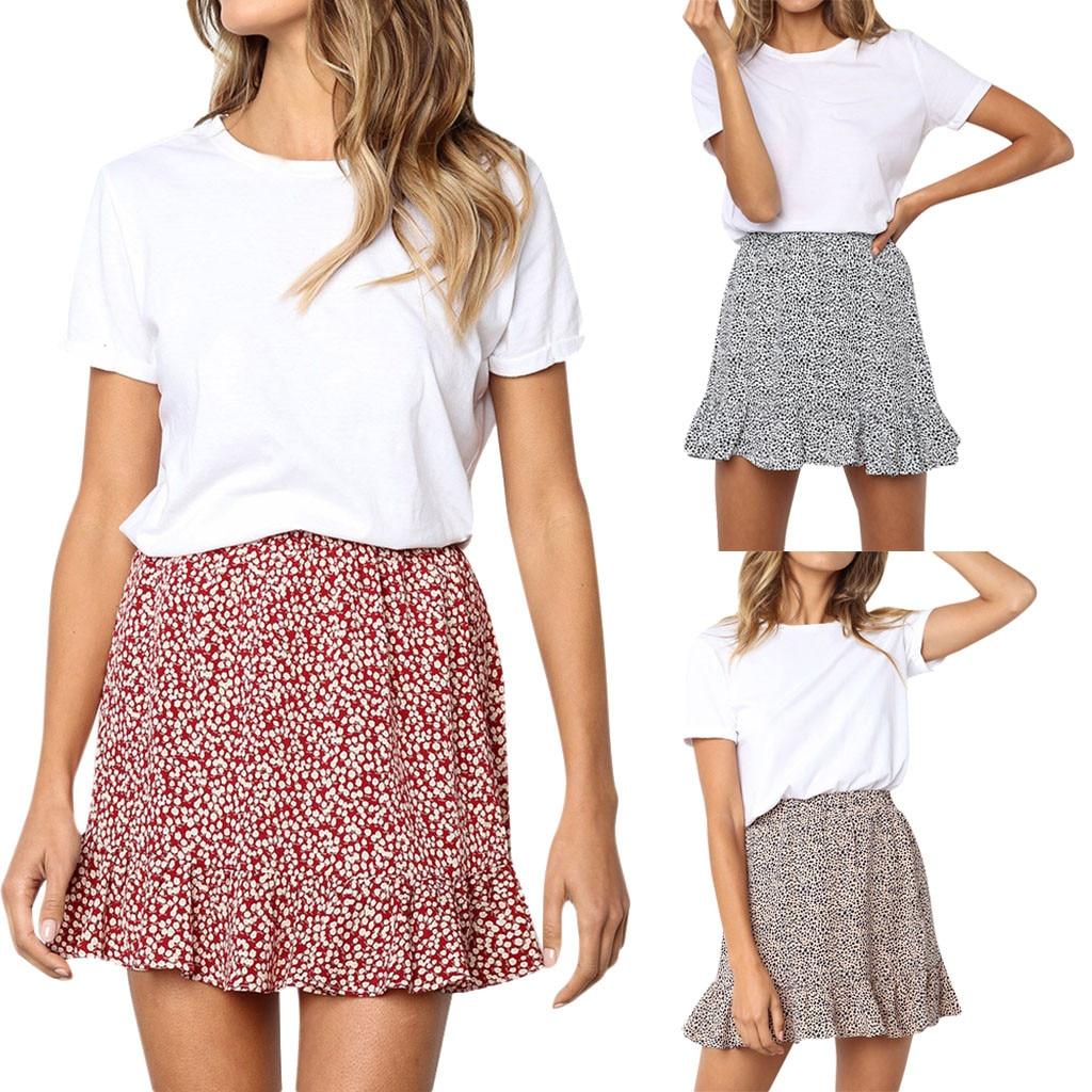 Womail Women Skirt Summer Fashion Retro High Waist Evening Party Short Print Skirt Daily Casual Skirt Midi 2019 Dropship F8