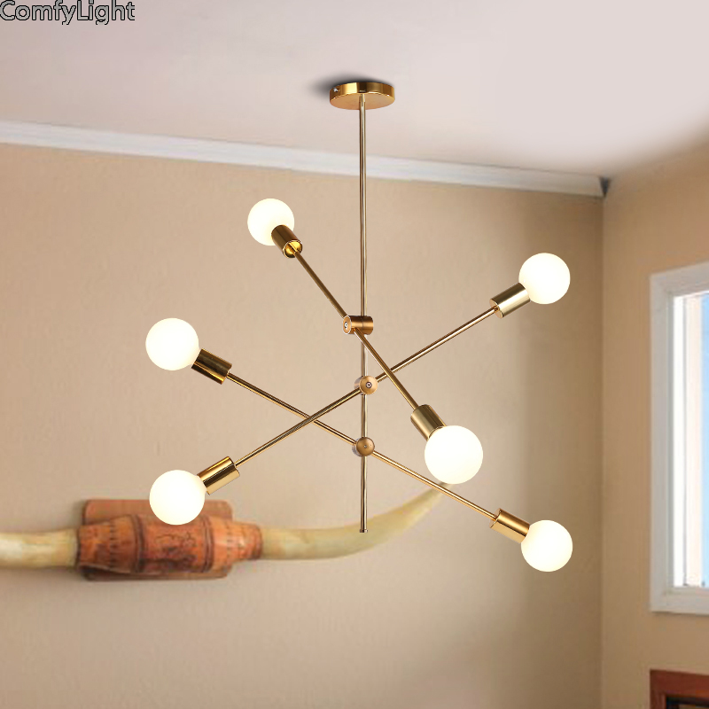best sneakers 5908e 74231 US $51.92 41% OFF|Nordic Loft Hanging Minimalist LED Chandelier adjustable  lamp multi bulb Art Decoration Light E27 dining room/Restaurant/foyer-in ...