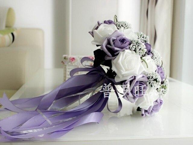1pc X Romantic Purple White Bride Holding Flowers Bride Bouquet ...