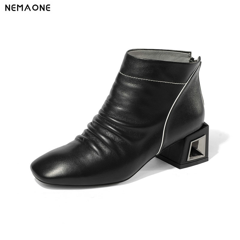 NemaoNe New 100% cow leather Boots Woman women western boots spring autumn shoes woman black white large size 43 nemaone 100