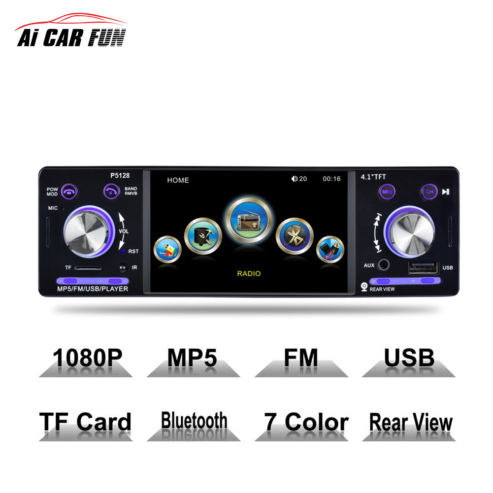 Autoradio P5128 Car Radio 12V Bluetooth 4.1 Car Stereo 1 Din FM Aux Input Receiver In-dash SD USB MP3 WMA APP Car Radio Player 8823b bluetooth 1din car dvd 12v fm aux input car stereo radio audio player receiver cd vcd wma mp3 player with sd usb port