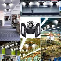 Deformable LED Garage Light Industrial Workshop 60W Mining 6500K 6000LM 85 265V Black Lamp