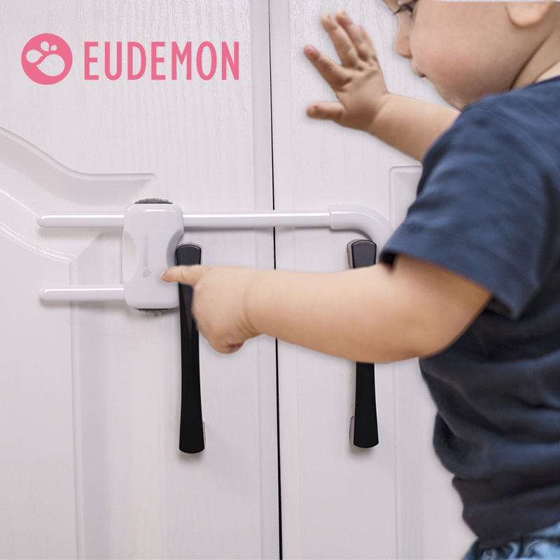EUDEMON 4pc Baby Safety Lock U Shape Kids Baby Cabinet Locks Children Protection Cabinet Security Door Locking Plastic Non-toxic