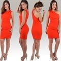 Europa EE.UU. Nueva 2016 Nueva oblicua Vestido de cuello vestido delgado pieza Del Partido Del Club Vestidos de Un Hombro Vendaje Lápiz mini vestido rojo