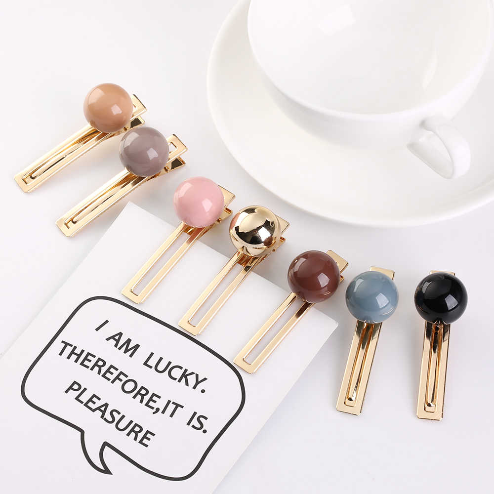 2019 New Fashion Candy Color Acrylic Ball Hairpins Hair Accessories for Women Girls Korea Metal Gold Color Hair Clips Hairgrip