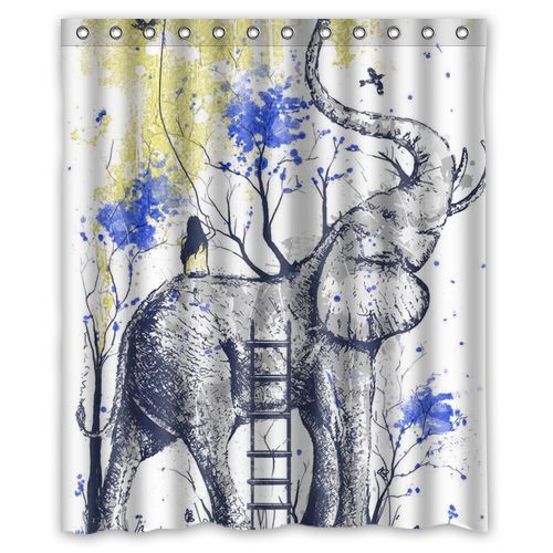 High Quality Elephant Art Custom Shower Curtain Bathroom Decor Free Shipping 36x72 48x72 60x72