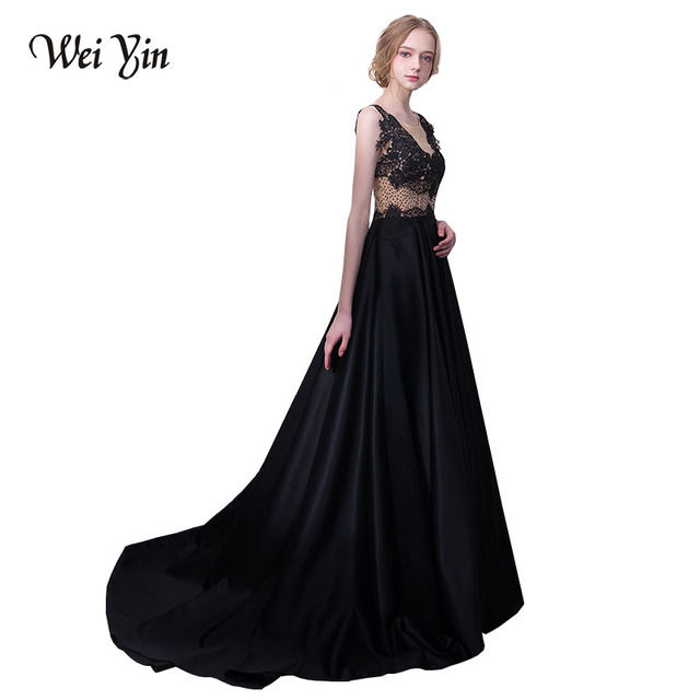 WEIYIN Robe De Soiree Appliques Lace Straight Black Evening Dresses 2018  Party Prom Dress Formal Occasion Dresses 4a64446ff2fa