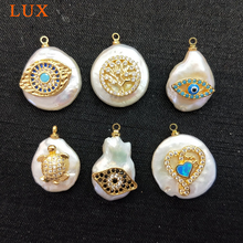 Natural White Pearl Charm micro Pave CZ evil eys heart turtle life of tree Pearls Pendants Gems stone Boho Jewelry DIY Making