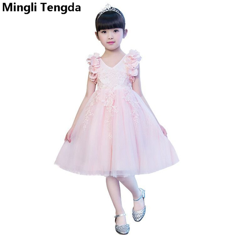 Pink V Neck   Flower     Girl     Dresses   Appliques Elegant   Girl     Dress   Lace Ball Gown   Flower     Girl     Dress     Girls     Dresses   2018 Mingli Tengda