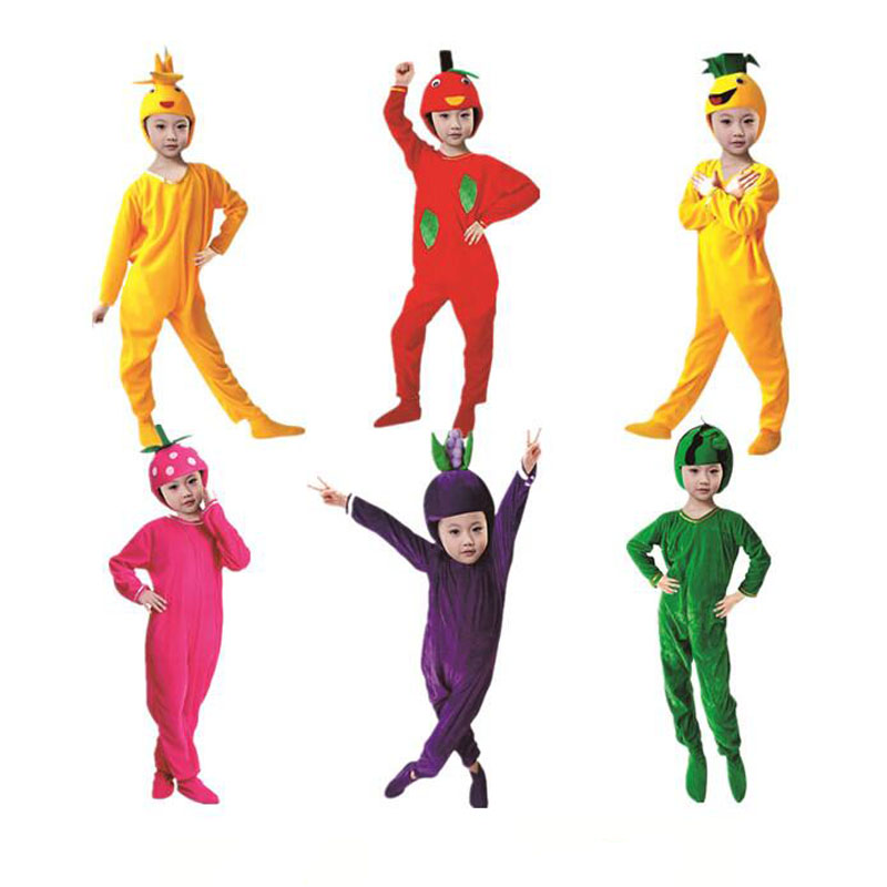 children boys girls fruits cosplay costume apple banana jumpsuits halloween fancy dress festival carnival party decor - Apple Halloween Costumes