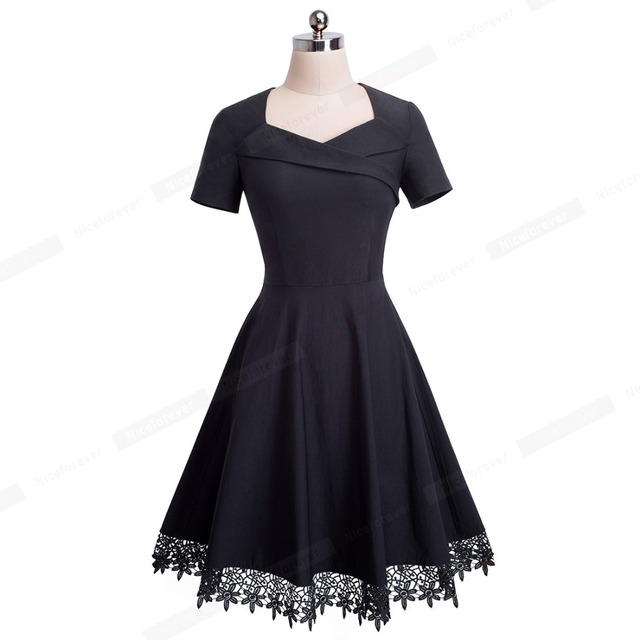 Vintage Elegant Stylish Embroidery Lace Sweat-Heart-Neck Dress