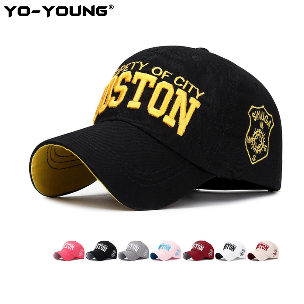 Yo-Young Unisex   Baseball     Caps   Snapback Casual Outdoor   Baseball     Caps   For Men Protety Of City Boston Letters Embroidery Sun Hat