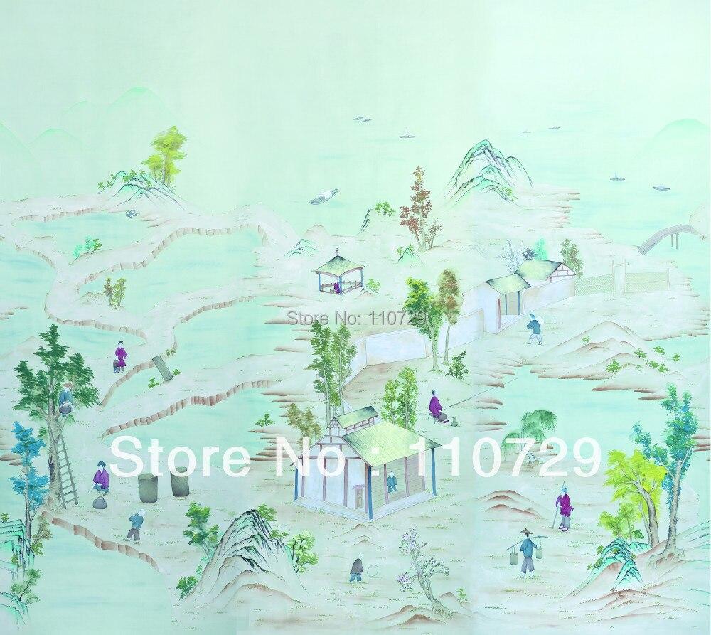 Peint à la main revêtement mural peint à la Main papier peint en soie peinture Campagne village TV/Canapé/chambre/salon fond