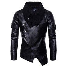 Осень-зима Для мужчин; в стиле панк из искусственной кожи куртка Slim Для мужчин Повседневное черный нерегулярные мотоциклетные кожаные куртки S-2XL