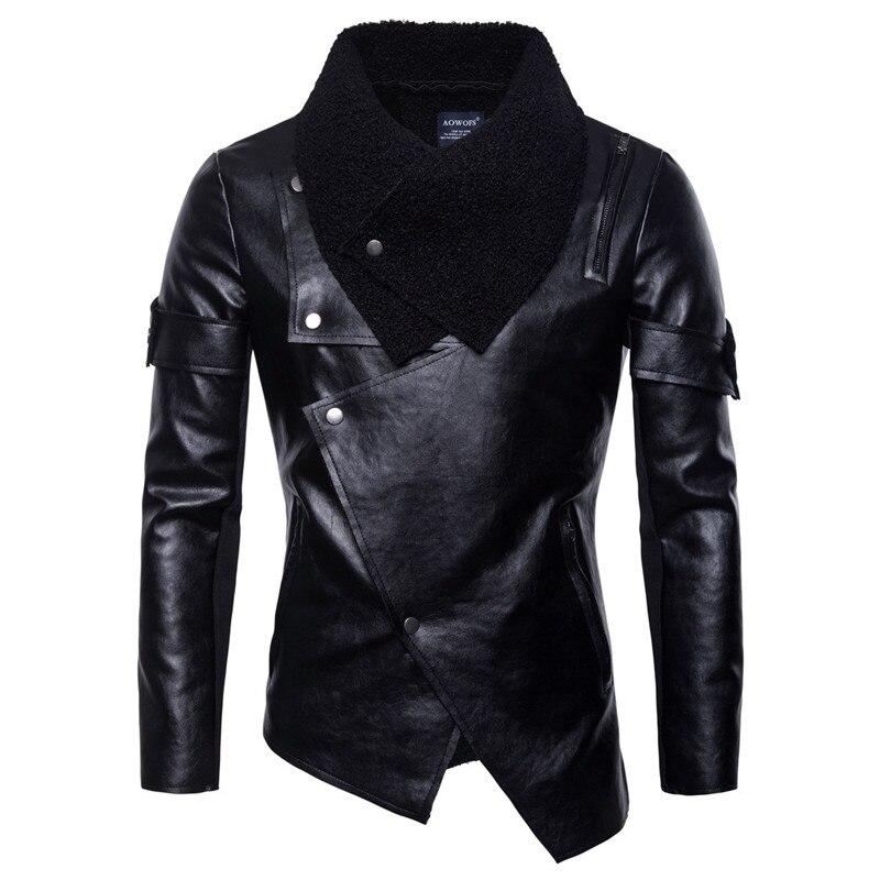 ฤดูใบไม้ร่วงฤดูหนาว Men's Punk Style PU หนัง Slim เสื้อแจ็คเก็ตผู้ชายลำลองสีดำไม่สม่ำเสมอรถจักรยานยนต์หนังเสื้อแจ็คเก็ต S 2XL-ใน แจ็กเก็ต จาก เสื้อผ้าผู้ชาย บน   1