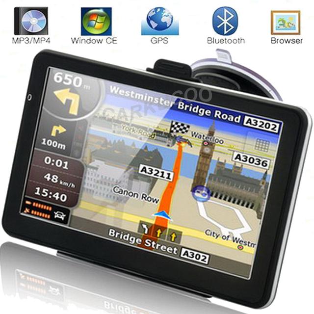 Portátil de Automóviles de Navegación GPS Bluetooth AV-IN GPS Navigator Sat Nav 8 GB 256 M Mapas RU EE. UU. Europa Navegantes para el Turista