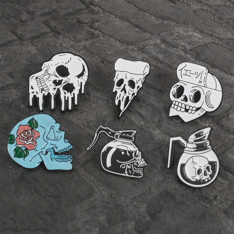 Gothique Punk Halloween Party Argent Crâne Squelette Rose Fleur Broche Pin