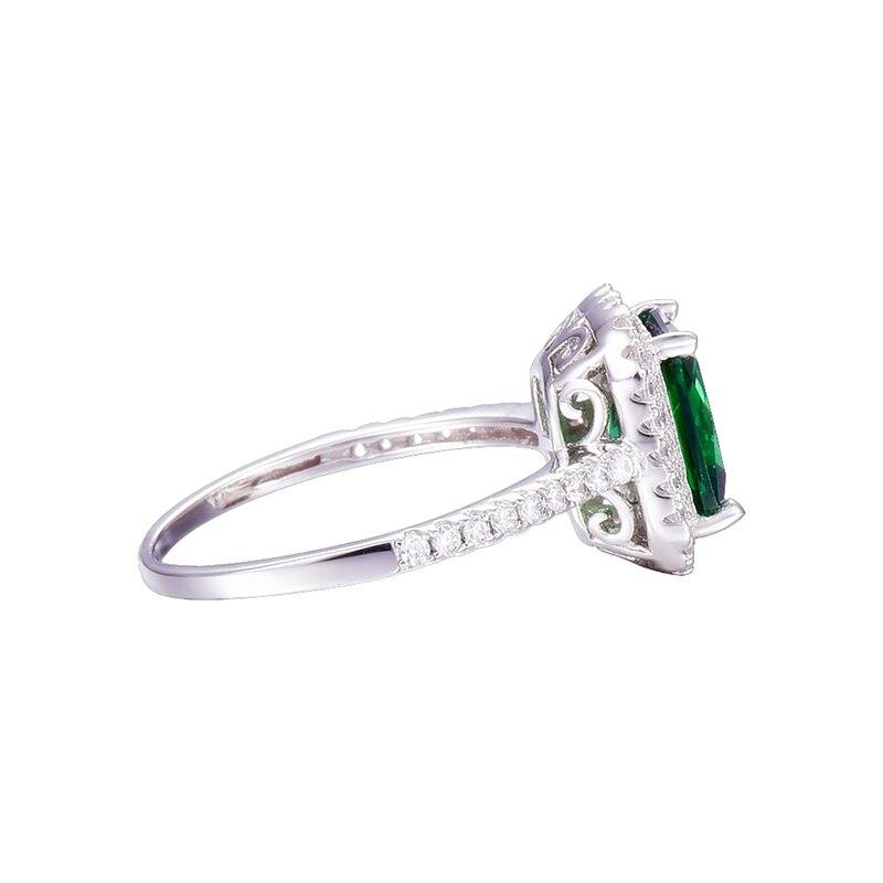 JQUEEN 3.6ct Nano Emerald แท้ 925 แหวนเงินผู้หญิง Brincos หมั้นงานแต่งงานแหวนสแควร์ที่น่าตื่นตาตื่นใจกับกล่อง-ใน ห่วง จาก อัญมณีและเครื่องประดับ บน   3