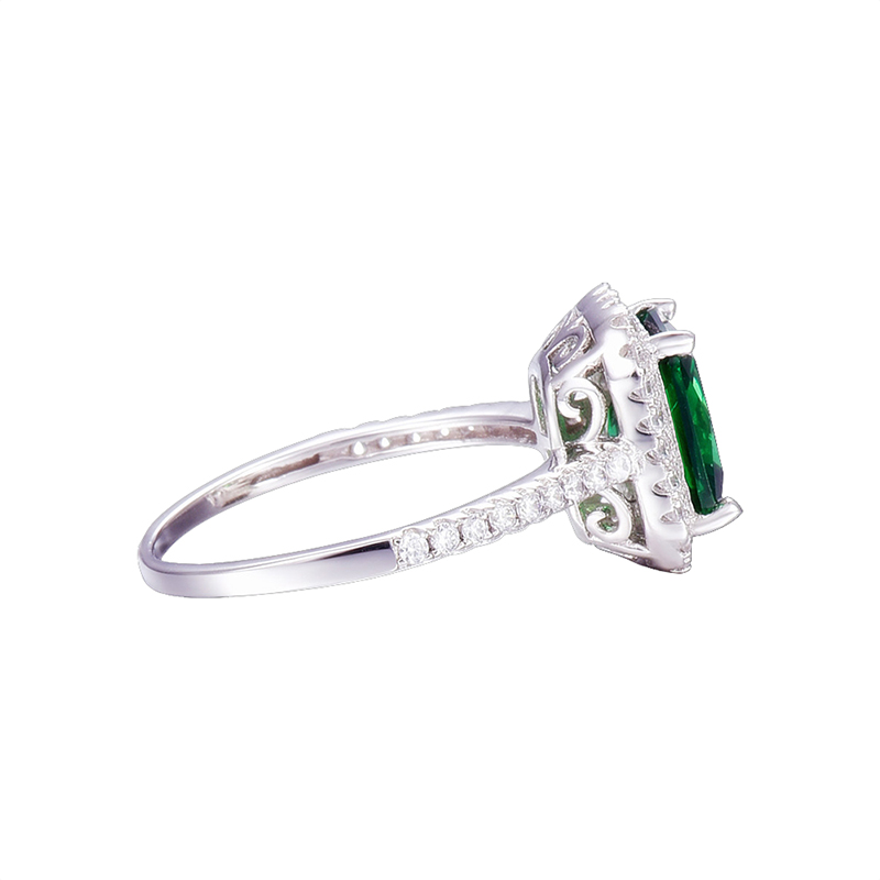 JQUEEN 3.6ct Nano Emerald stałe 925 Sterling Silver Rings dla kobiet Brincos pierścionek zaręczynowy ślub kwadratowe wycięcie niesamowite z pudełkiem w Pierścionki od Biżuteria i akcesoria na  Grupa 3