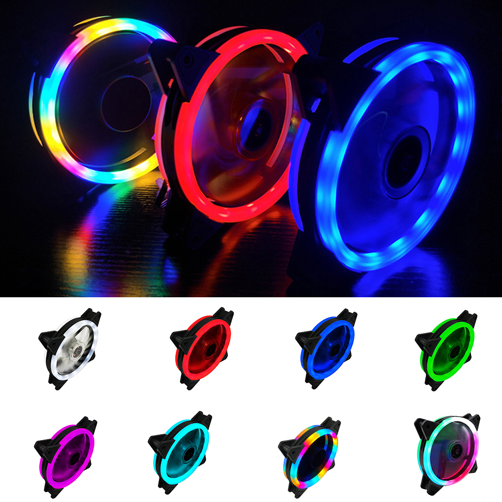 Computer LED Fans Fashion Double-sided Low Noise 4-Pin Computer Power Supply Fan LED Light Heatsink <font><b>Cooler</b></font> image