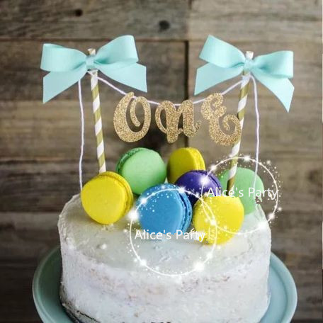 Hot Handmade One Baby Shower Cake Bunting Sale Gold Art ONE Kids 1st Birthday Smash Topper Pink Blue Bow Table Centerpieces