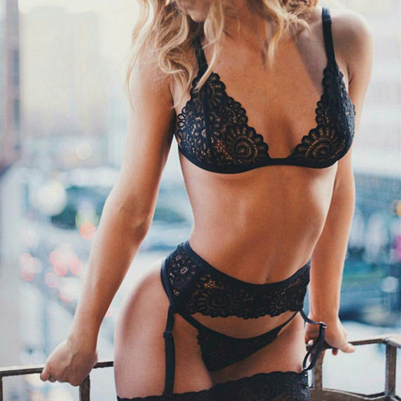 3pcs Set Women Transparent Bra Set + Garter Black Sexy Lingerie Lace Lenceria Plus Size Underwear - underwear