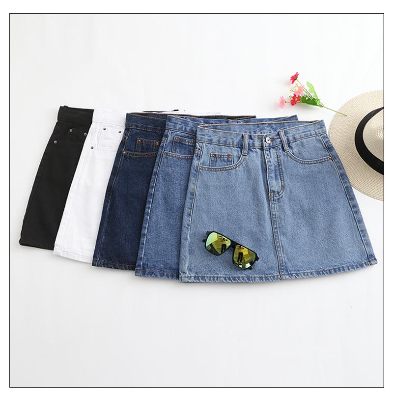 Lucyever Fashion Korean Summer Women Denim Skirt High Waist Black Mini Skirts Package Hip Blue Jeans Harajuku Plus Size Cotton 35