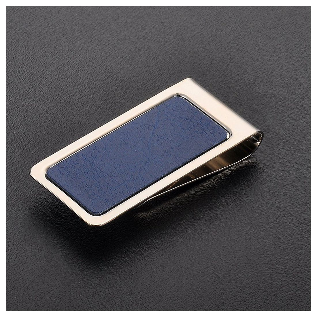 Mens Stainless Steel Pocket Cash Money Clip Credit Card Wallet Holder Hollow Design(blue+Silver)