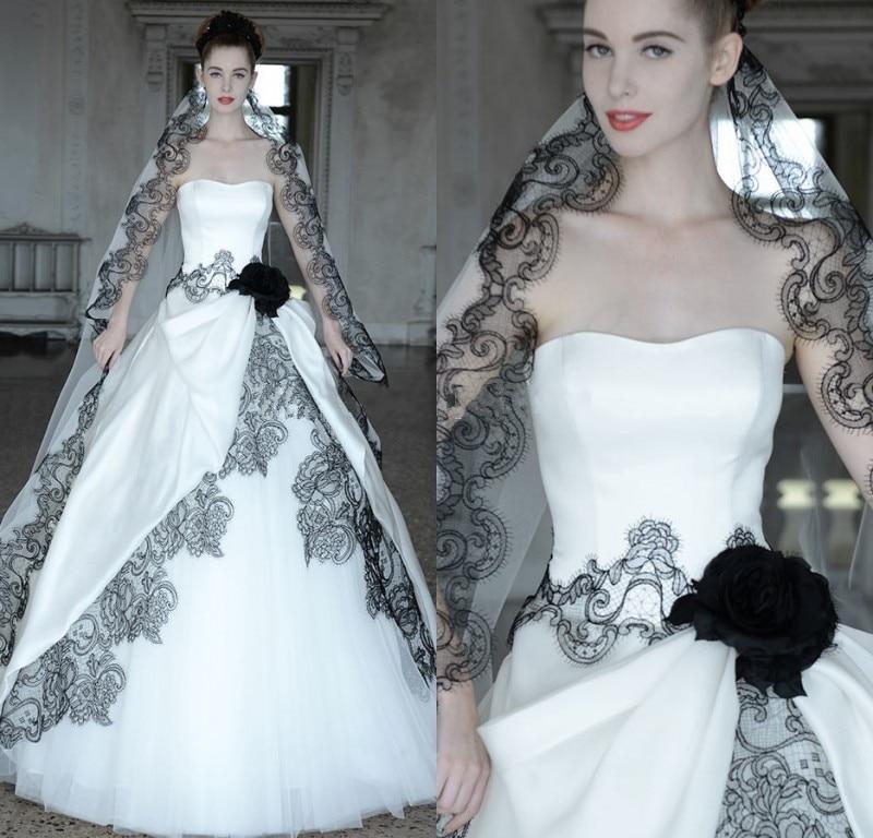 Vestidos de Novia de Encaje Negro vestido de Bola Vestidos de Novia Góticos 2016 Satén Blanco