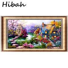 DIY Diamond Painting Cross-stitch Landscape Garden Cabin Crystal Round Embroidery Full Decoration