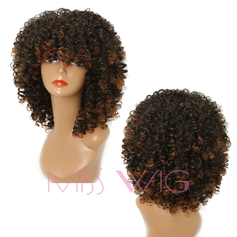 MISS WIG Long Afro Wig 18Inches Kinky Curly Synthetic Wig For Black Women American Wig Blonde Mixed Brown 280g