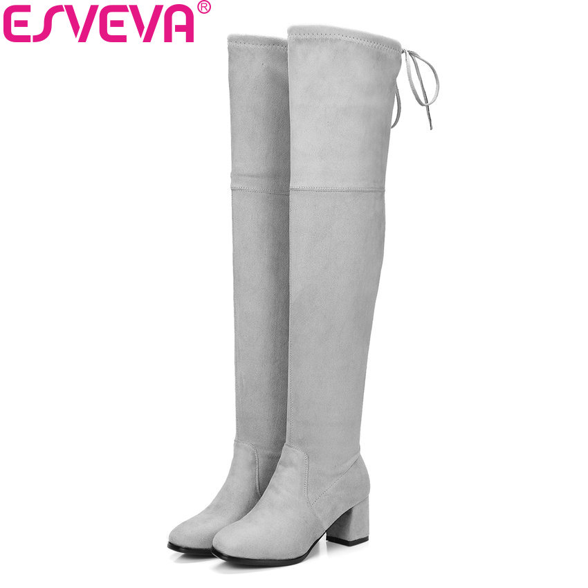 ESVEVA 2018 Women Boots Square Toe Flock Over The Knee Boots Women Boots Ladies Party Western Stretch Fabric Boots Size 34-43 esveva 2017 western style flock women boots over the knee boots winter square high heel ladies lace up fashion boots size 34 43