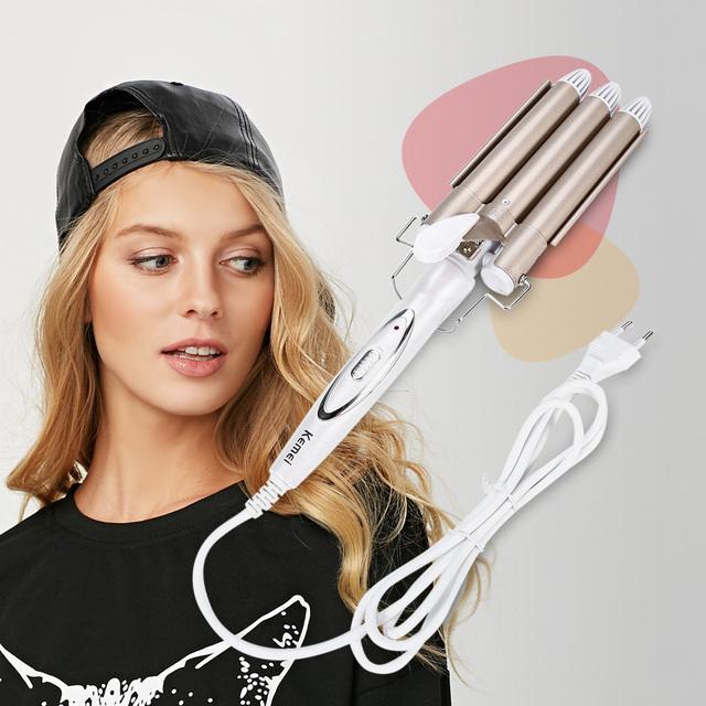 KEMEI Professional Hair Curling Iron Ceramic Triple Barrel Hair Curler Irons Hair Wave Waver Styling Tools Hair Styler Wand