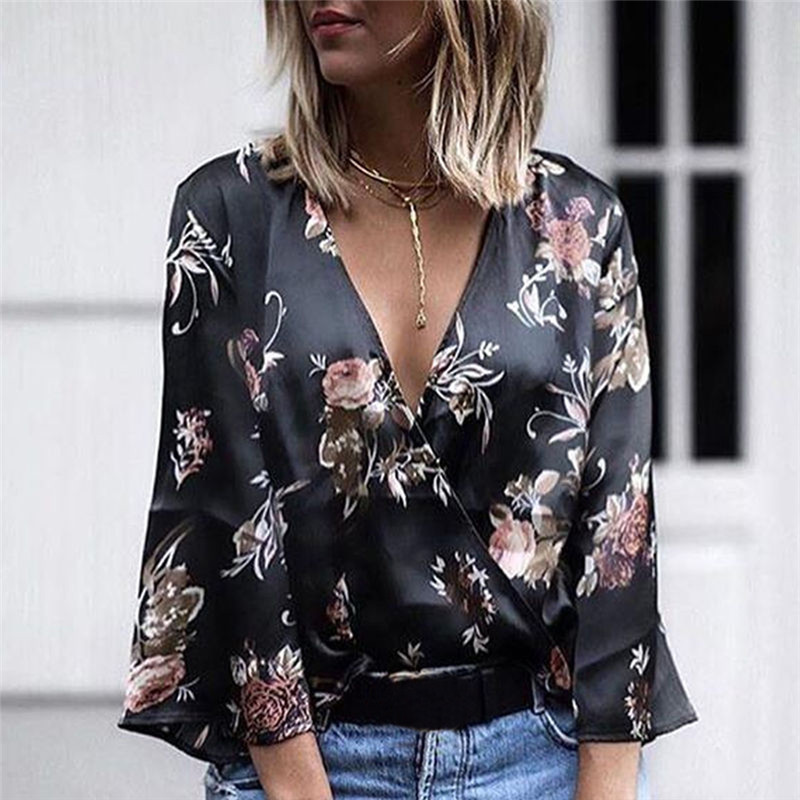 Spring Sashes Like Silk   Blouse   Women Kimono Sexy Deep V-neck Satin   Shirt   Floral Women Three Quarter Fl Sleeve   Blouse     Shirt
