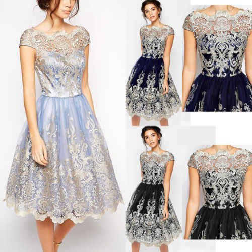 7b207e89b03 ... Vintage Women Lace Crochet Prom Floral Formal Cocktail Party Ball Gown  Dress Jurken Skater Dresses Vestidos ...