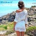 S-XL 2016 Primavera Verão Mulheres Sexy Oco Out Branco V Pescoço Mini Lace Vestido de Festa Na Praia Vestidos Elegantes Com Cinto de senhora vestidos